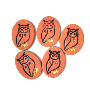 "Red Clay Owl Button - Animal Button - 1 1/16"" x 13/16"""