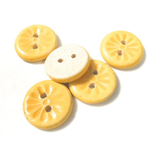 "Yellow Daisy Buttons - Ceramic Flower Buttons - 11/16"" - 5 Pack"