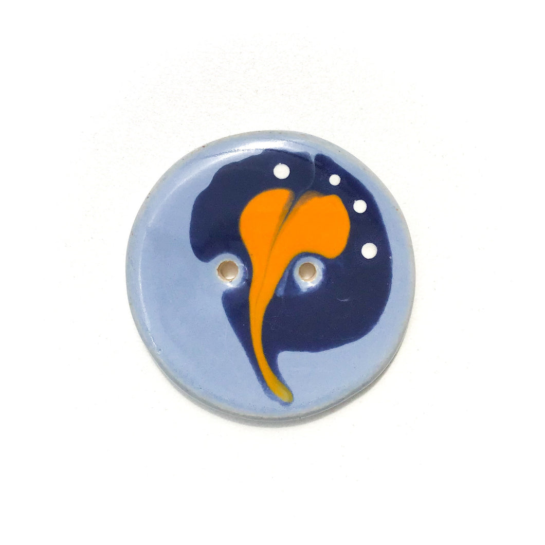 Blue & Orange 'Paisley' Button - Large Ceramic Button - 1 7/16