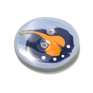Blue & Orange 'Paisley' Button - Large Ceramic Button - 1 7/16""