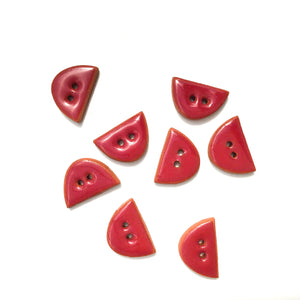 "Wine-Red Ceramic Buttons - Small Half Circle Clay Buttons - 3/8"" x 5/8"" - 8 Pack"