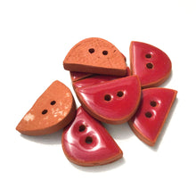 "Load image into Gallery viewer, Wine-Red Ceramic Buttons - Small Half Circle Clay Buttons - 3/8"" x 5/8"" - 8 Pack"