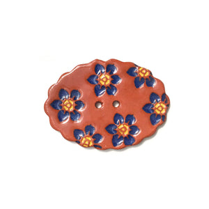 "Scalloped Oval Button with Dark Blue Flowers - 1 1/4"" x 1 3/4"""