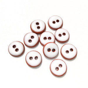 "White Ceramic Buttons - Hand Made Clay Buttons - 7/16"" - 10 Pack"