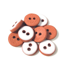 "Load image into Gallery viewer, White Ceramic Buttons - Hand Made Clay Buttons - 7/16"" - 10 Pack"