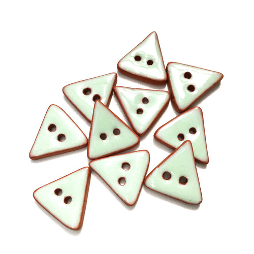 Light Aqua Ceramic Buttons - Blue Triangle Clay Buttons - 5/8