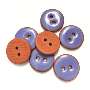 "Hazy Purple Ceramic Buttons - Purple Clay Buttons - 3/4""- 7 Pack"