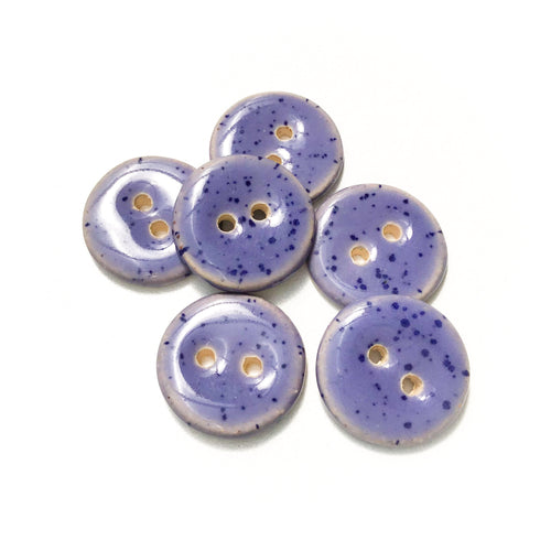 Speckled Purple Ceramic Buttons - Purple Clay Buttons - 3/4
