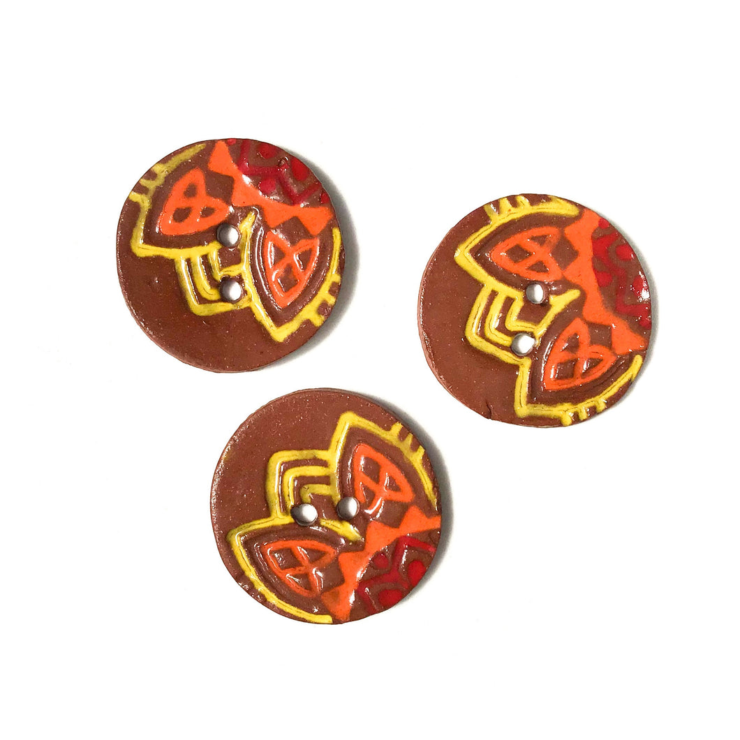 Vibrant 'Fiesta' Ceramic Buttons on Red Clay - 1 1/16