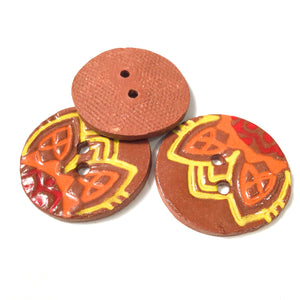 "Vibrant 'Fiesta' Ceramic Buttons on Red Clay - 1 1/16"" - 3 Pack"