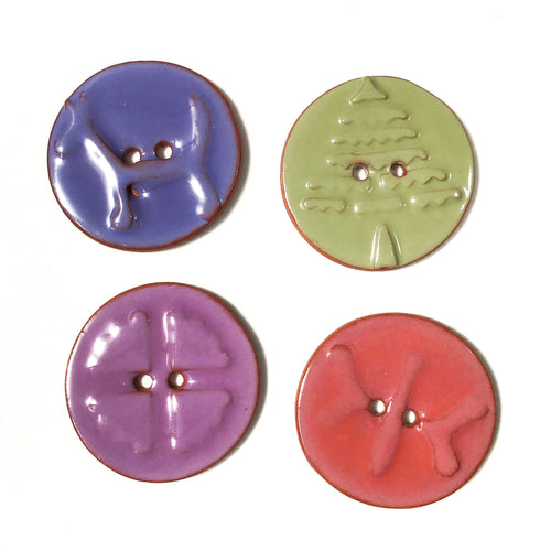 Mirro Stamp Buttons on Red Clay - Warm Shade Ceramic Buttons - 1 3/8
