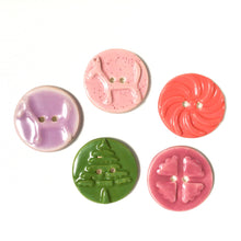 Load image into Gallery viewer, Mirro Stamp Buttons - Cheery Shades Ceramic Buttons - 1 3/8""