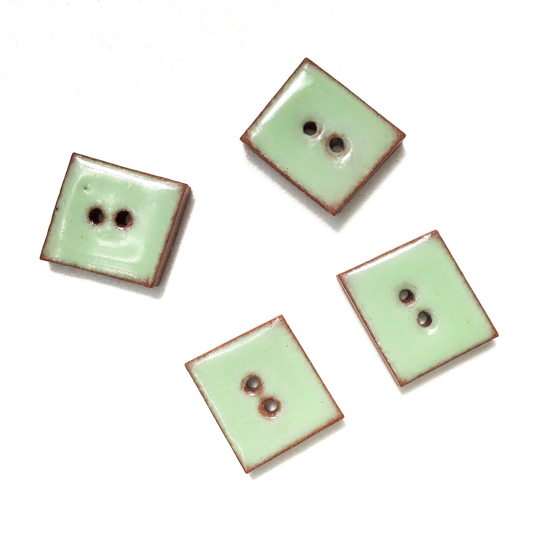 Minty Green Buttons on Red Clay - Geometric Ceramic Buttons - 1/2