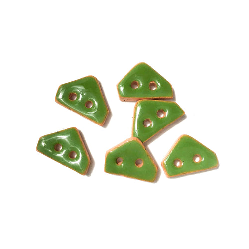 Shamrock Green Ceramic Buttons on Brown Clay - Small Geometric Ceramic Buttons - 3/8