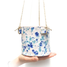 Load image into Gallery viewer, Spotted Navy & Blue-Green Hanging Ceramic Pot - Hanging Clay Planter