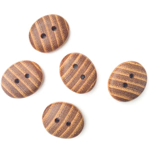 "Black Locust Wood Buttons - Oval Wood Buttons - 3/4"" x 1"" - 5 Pack"