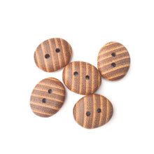"Load image into Gallery viewer, Black Locust Wood Buttons - Oval Wood Buttons - 3/4"" x 1"" - 5 Pack"