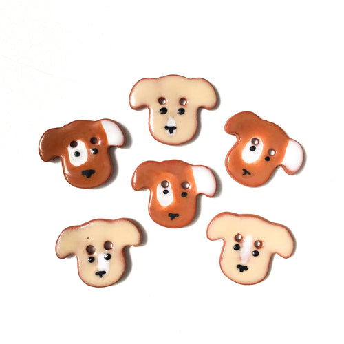 Dog Buttons - Ceramic Dog Buttons - 3/4