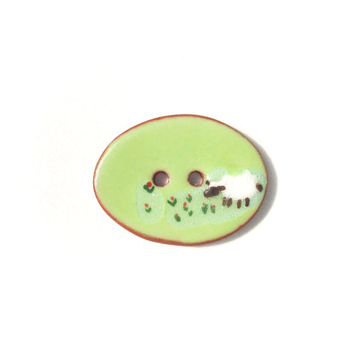 Grazing Sheep Ceramic Button - Sheep Pottery Button - 1 1/16