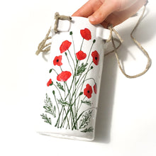 Load image into Gallery viewer, Flowering Poppies Hanging Ceramic Pot - Hanging Clay Flower Planter
