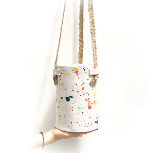 Paint Splatter Hanging Ceramic Pot - Hanging Clay Planter in Yellow, Coral & Greens on White