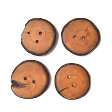"Load image into Gallery viewer, Apple Wood Buttons - Live Edge Apple Wood Buttons - 1 1/4"" round - 4 Pack"
