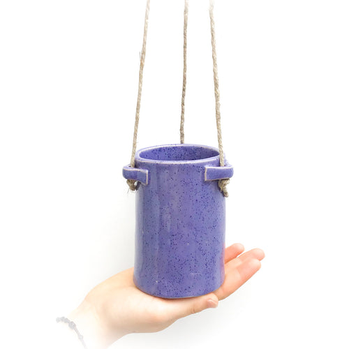Speckled Purple Hanging Ceramic Pot - Hanging Clay Planter