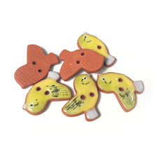 "Load image into Gallery viewer, Painted Bunting Ceramic Songbird Buttons - Clay Bird Buttons - 3/4"" x 7/8"" - 6 Pack"
