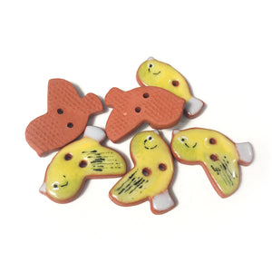 "Painted Bunting Ceramic Songbird Buttons - Clay Bird Buttons - 3/4"" x 7/8"" - 6 Pack"