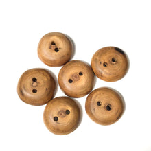 "Load image into Gallery viewer, Black Walnut Wood Buttons - Walnut Sap & Heartwood Buttons - 7/8"" - 6 Pack"