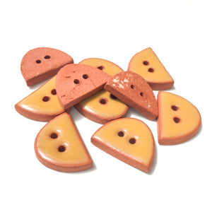 "Camel Brown Ceramic Buttons - Small Half Circle Clay Buttons - 3/8"" x 5/8"" - 10 Pack"