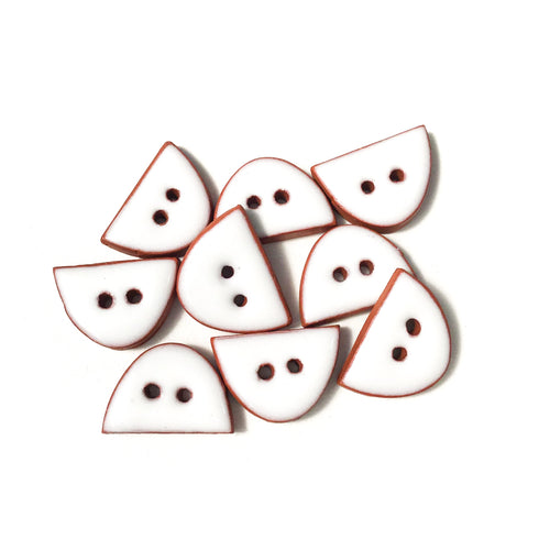 White Ceramic Buttons - Small Half Circle Clay Buttons - 3/8