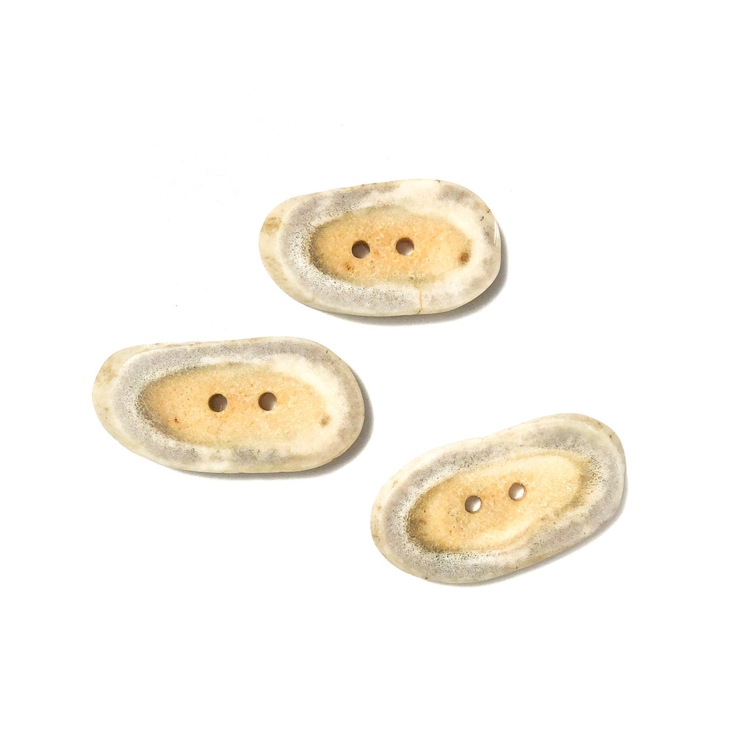 Deer Antler Shed Buttons - Polished Natural Antler Buttons - 3/4  x 1 1/2