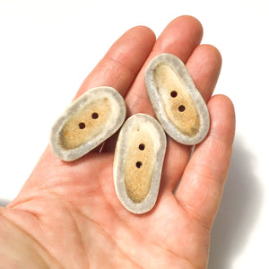 "Deer Antler Shed Buttons - Polished Natural Antler Buttons - 3/4  x 1 1/2""  - 3 Pack"