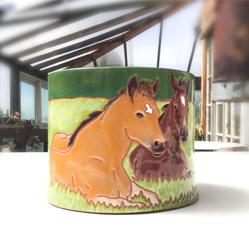 Quarter Horse Foals Bowl - Horse Pot - Decorative Ceramic Horse Vessel