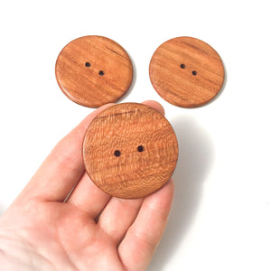 Large Quarter Sawn Cherry Wood Buttons - 1 7/8""