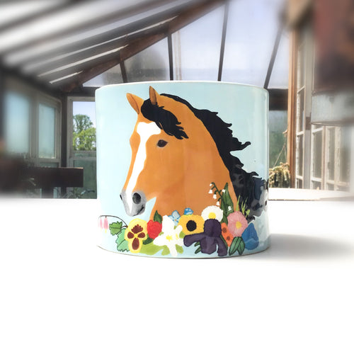 Bouquet Horse Pot - Decorative Ceramic Horse Vessel