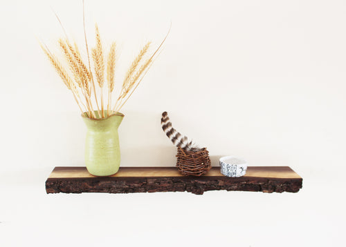 Live edge black walnut floating shelf with bark attached.  Small, decorative, and narrow floating shelf for displaying keepsake items.