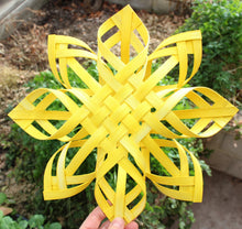 Load image into Gallery viewer, Large Golden Swedish Advent Star - Woven Sunshine - Turmeric Dyed