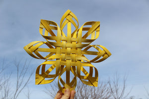 Large Golden Swedish Advent Star - Woven Sunshine - Turmeric Dyed