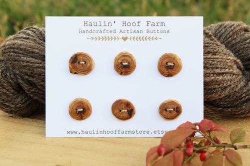 Apple Wood Buttons - Rustic Buttons - Set of 6