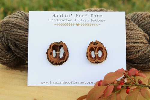 Black Walnut Shell Buttons - Set of 2