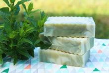 Load image into Gallery viewer, Spearmint Swirl Scrub Bar - Handcrafted Organic Soap