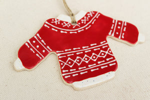 Christmas Sweater Ornament - Red + White Traditional Fair Isle Design