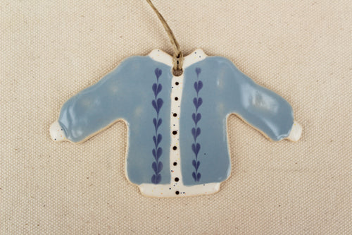 Sweater Ornament - Blue Cardigan with Hearts