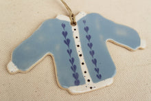Load image into Gallery viewer, Sweater Ornament - Blue Cardigan with Hearts