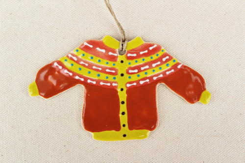 Sweater Ornament - Fair Isle Yolk Design