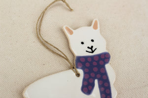 Alpaca Ornament - Hand Painted Ceramic Alpaca Ornament - White