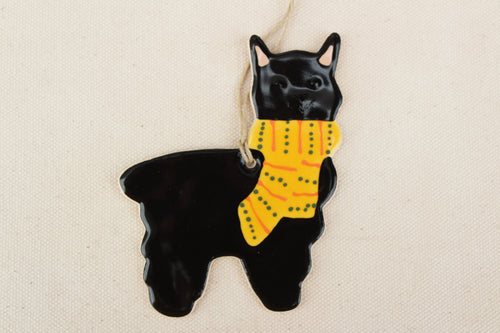 Alpaca Ornament - Hand Painted Ceramic Alpaca Ornament - Black