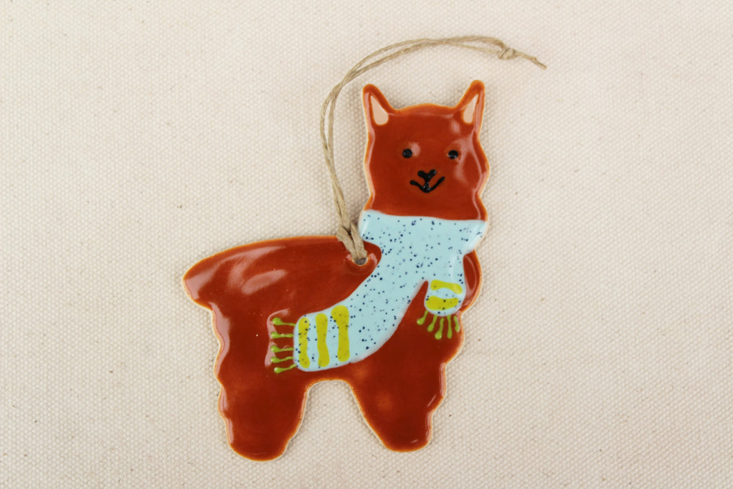 Alpaca Ornament - Hand Painted Ceramic Alpaca Ornament - Brown